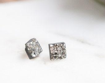 Concrete Square Silver Druzy Earrings