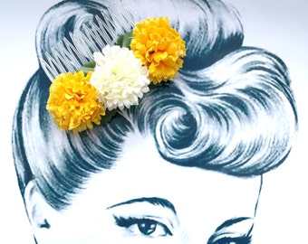 Pompom Party Hair Comb Vintage Pinup