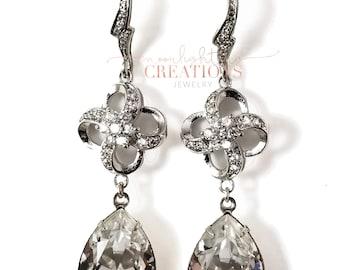 Swarovski Crystal and Rhinestone Teardrop Earrings, Hollywood Glamour, Drop Earrings, Bridal Earrings, Wedding, Great Gatsby Style