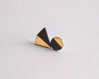 Porcelain stud earrings- black, gold - asymmetrical small geometric post earrings, minimalist studs, eco-friendly jewelry