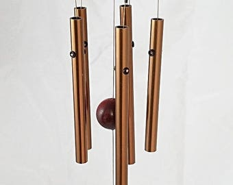 Wind Chime - 5 Blue Crystal Agate Slices with 5 Musically Tuned Polished Aluminum Chimes. Indoors/Outdoors. 18 inches Tall. Free Shipping.
