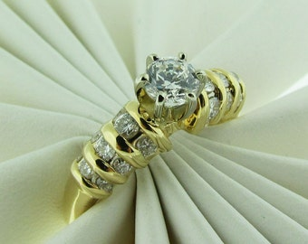 CZ and Diamond Engagement Ring, Yellow Gold