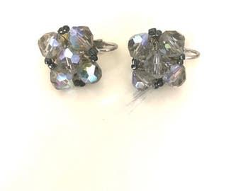 Vintage Rhinestone Cluster Clip On Earrings
