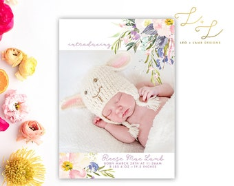 Spring Flowers Birth Announcement - Printable or Printed - 5x7 Birth Announcement - Photo Card
