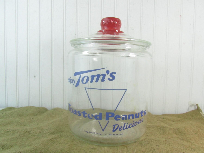 Tarro de CRISTAL de TOMS VINTAGE vidrio claro frasco Vintage