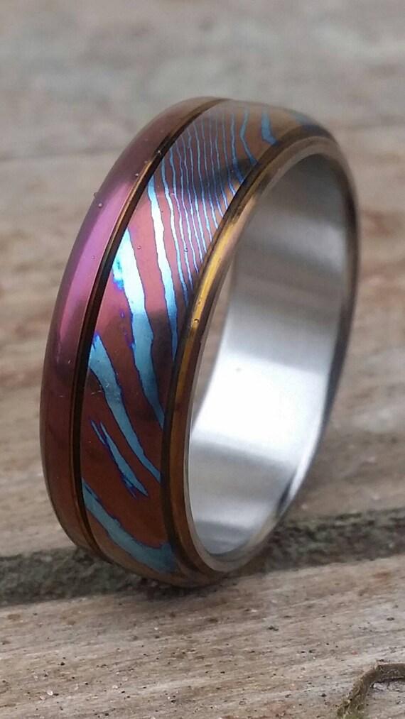 New8mm timascus ring Hawaiian Titanium lined Timascus Mokuti