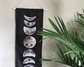 Watercolor moon phase tapestry   wall hanging   moon phase banner   gifts for her   gifts for him   book lover   bookmark