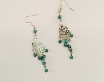 Silver tone african turquoise beads hamsa hand