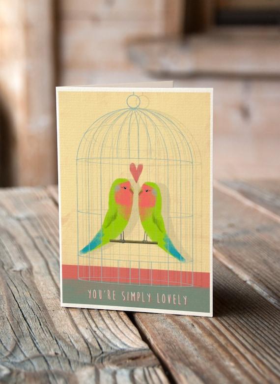Lovebirds - Valentines, Anniversary, Wedding, Engagement Card