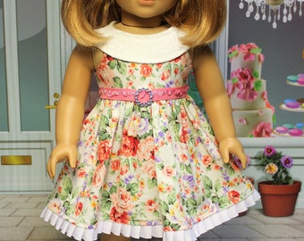 Peachy Floral Dress fits American Girl doll and other 18 inch dolls