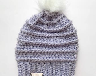 Faux Fur Pom Pom Slouch Beanie | featured in LILAC