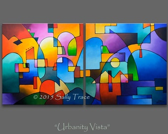 Abstract Paintings, Acrylic Paintings, Geometric Landscape, Modern Abstract Painting on Canvas 36x72 inches, diptych painting, Made To Order