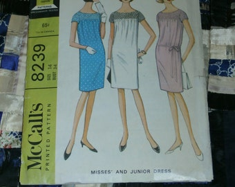 """Vintage 1966 McCall's Pattern 8239 for Misses Two Section Dress, Size 14, Bust 34, Waist 26"""", Hip 36"""""""