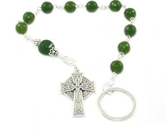Irish Penal Rosary - Celtic Catholic Prayer Beads, Green Nephrite Jade