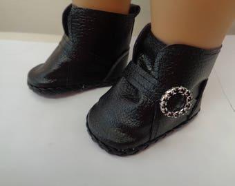 Soft Black  -Slip on Ankle Boots--for 18 Inch dolls--