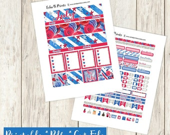Stars and Stripes Printable Planner Stickers/Monthly Kit/For Use with Erin Condren/Cutfiles Fourth of July Independance Glam Stars Patriot