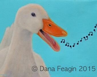Original Duck Painting - Singing Duck Art - The Sound Of Music - 10% Benefits Animal Charity