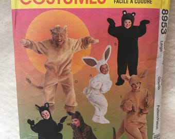 Animal costume Lion, Bunny, Bear, cat Tiger  sized Large 8953