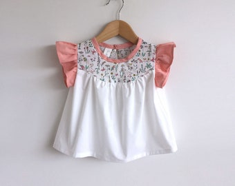 girls cotton blouse with Liberty print detail