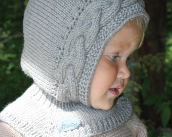 Hand knitted baby Pixie Hat with Collar, Hat and scarf all in one, Hand knitted hood with neck, Balaclava hat, wool baby hat.