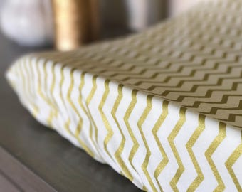 Changing Pad cover- Crib sheet- girl nursery- gold- chevron- modern- toddler sheet- baby shower gift- fitted sheet