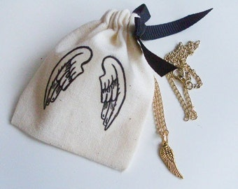 "Mini angel wing gold necklace (16"") with matching pouch"