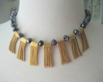 Gatsby choker necklace, vintage brass tassel, sapphire Czech crystals, flapper style choker necklace