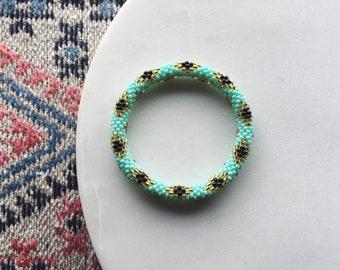 Beaded Diamond Pattern Bracelet - Robin's Egg + Gold + Black