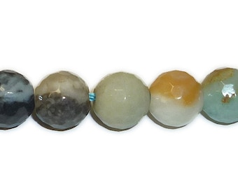 Flower Amazonite (Natural) A grade Faceted Big Hole Round Gemstone Beads (10mm)