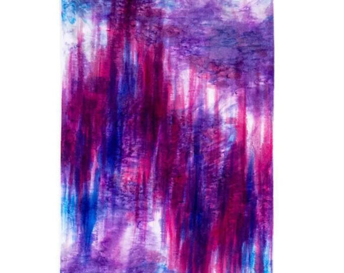 Ikat Wall Hanging-Magenta Wall Art-Fiber Art-Abstract-Watercolor Silk Tapestry-Modern Rustic Decor-Bohemian Tapestry-Watercolor Home Decor