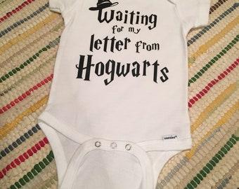 Harry potter letter onesie hogwarts