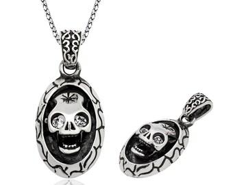 Silver Skull Necklace - IJ1-1861