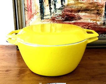 Bright yellow cast iron Dutch oven Pot Copco Denmark Stamped D2