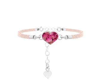 Fashion Bracelet - Light Pink Strap - Heather - Heart by Shrieking Violet®