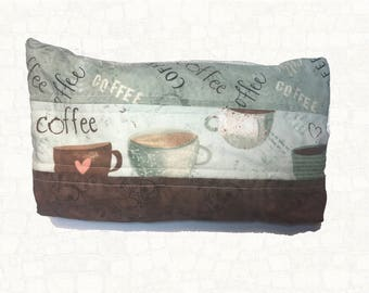 Quilted Makeup Bag - Coffee - Coffee Lover - Cosmetic Bag