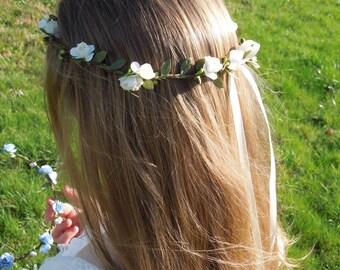 Flower Crown, Rose Flower Crown, Ivory Flower Crown, Hair Wreath, Flower Halo, Hair Crown, Flower Girl Crown, Wedding Accessory