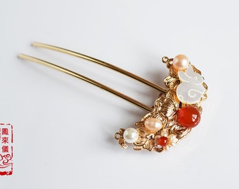 flyin Chinese rabbit hair pin in red agate, freshwater pearl, shell pearl, gold plated copper filigree, traditional Chinese hair stick
