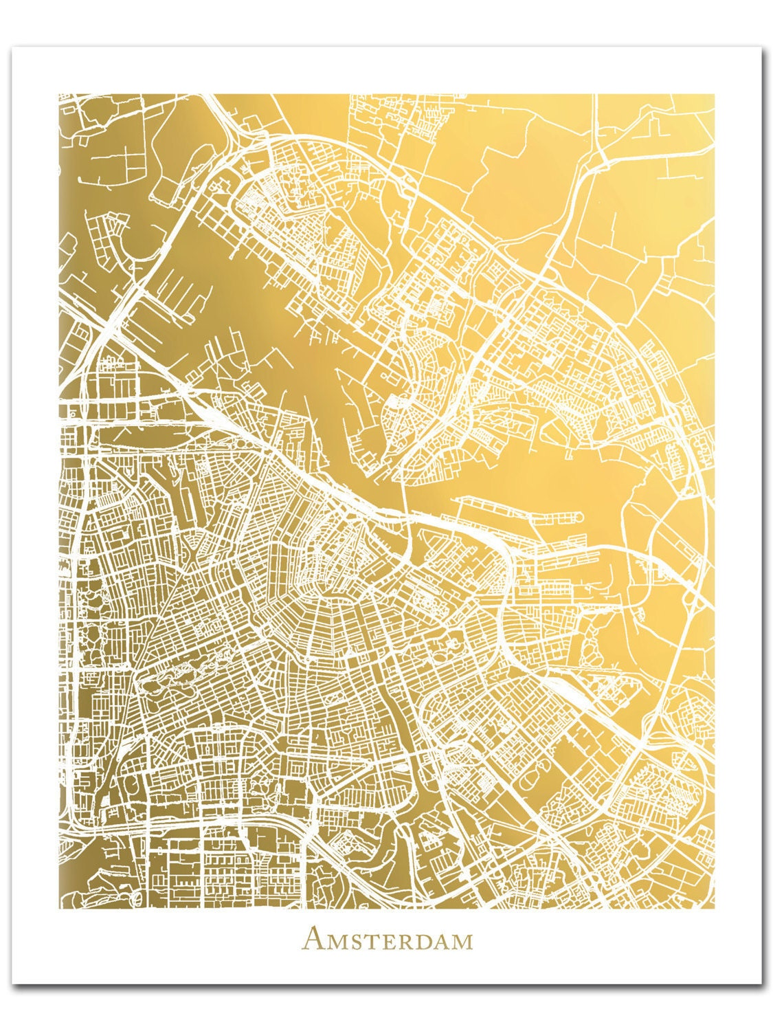 Gold Foil Amsterdam Street Map Gold Foil Map Gold Print