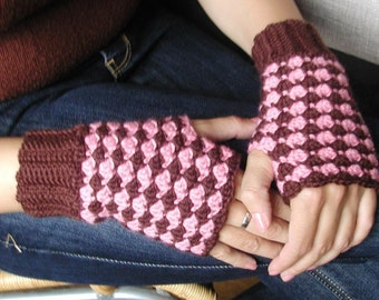 Crocheted Fingerless Mittens (Brown-Rose)- PDF Pattern