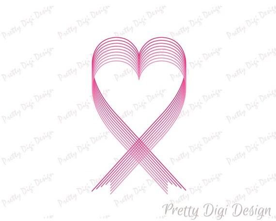 Heart Pink Ribbon Breast Cancer Ribbon Svg Dxf Png Hope Symbol