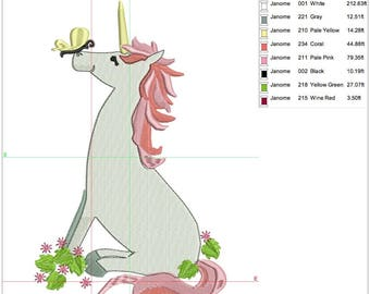 Unicorn embroidery design 3 sizes, 4 x 4, 5 x 7 and 8 x 8 or 200 x 200