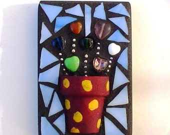 ACEO Mosaic: Heart Plant Stained Glass Mixed Media Mosaic Shelf Sitter Wall Hanging Gift