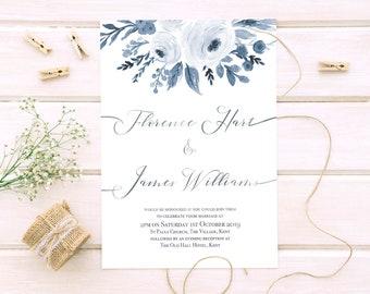 Floral watercolour wedding invitation torn edges printable customised pdf digital