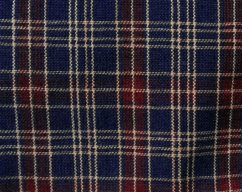 Blue Red plaid cotton fabric by the yard