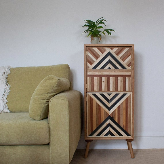 Vintage Tall Cabinet Abstract Sideboard Retro Cabinet