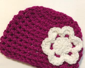 Crocheted Beanie with Flower   Jessica Hat   Donation Item - Ready to mail in size 0-3M