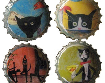 Funny Black Cat Magnets - Tuxedo Cat Magnets - Strong Magnets - Bottle Cap Magnets - Cat Lover Gift - Teacher Appreciation Gift