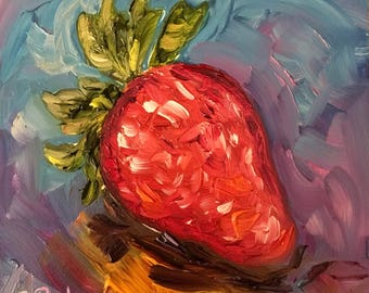 """Juicy! Oil painting is a sweet little 4"""" square on a gesso board"""