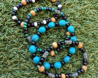Set of 4 Beaded Stretchy Bracelets