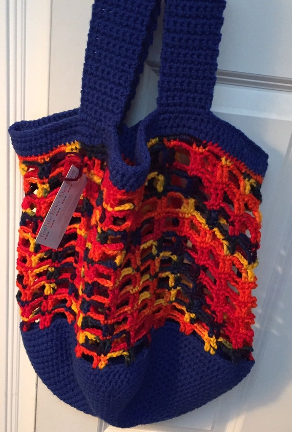 Bright Blue and Red, Orange, Yellow and Green Crocheted Tote, Beach or Market Bag, in Worsted